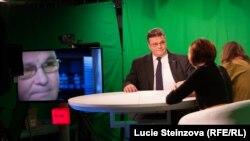 Ministri Linkevicius gjatë vizitës së sotme në selinë e Radios Evropa e Lirë në Pragë