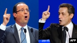 France -- A combo photo of incumbent president and Union for a Popular Movement (UMP) candidate Nicolas Sarkozy (R) and France's socialist party (PS) candidate François Hollande