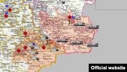 Мапа месцаў масавых пахаваньняў і канцлягераў у Данбасе, падрыхтаваная СБУ.