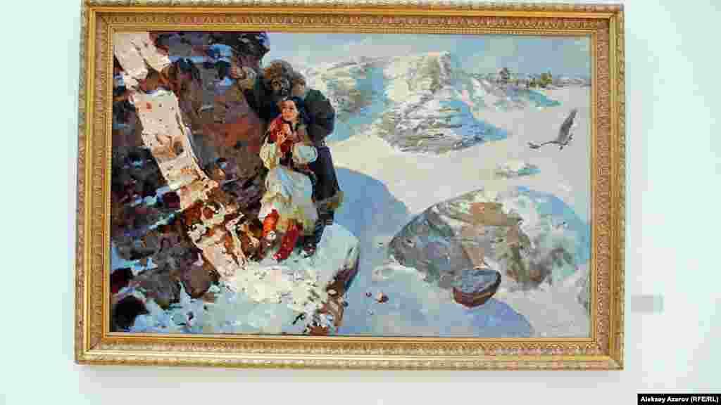 Картина Талгата Тлеужанова «Баян». По сюжету, Баян после гибели возлюбленного Козы Корпеша хочет броситься в пропасть, но ее удерживают от этого.