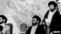 Iran - Form left: 1- Mir-Hossein Musavi (Prime Minister of Iran from 1981 to 1989), 2- Ali Khamenei (current Supreme Leader of Iran and was the president of Iran from 1981 to 1989), 3- Ahmad Khomeini (son of Ayatollah Khomeini), 4- Akbar Hashemi Rafsanja