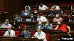 Armenia -- Deputies from the ruling My Step bloc at a parliament session in Yerevan, June 22, 2020.