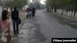 Учащиеся, идущие на уборку хлопка в Узбекистане. Сентябрь 2016 года.