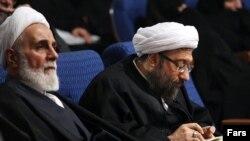 صادق لاریجانی (راست) و علی اکبر ناطق نوری،