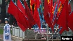 پیونگیانگ؛ پرچم حزب حاکم کارگر