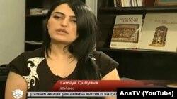 Lamiyə Quliyevə ANS TV-yə müsahibə verərkən