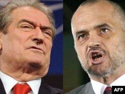 Kryeministri i Shqipërisë, Sali Berisha, dhe lideri socialist, Edi Rama.