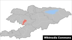 Кыргызстандын картасындагы Базар-Коргон району кызыл түстө.