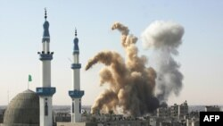 An Israeli air strike hits near a mosque in the southern Gaza Strip town of Rafah.