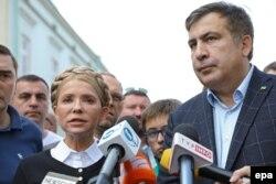 Міхеїл Саакашвілі та Юлія Тимошенко під час прес-конференції на території Польщі. Перемишль, 10 вересня 2017 року