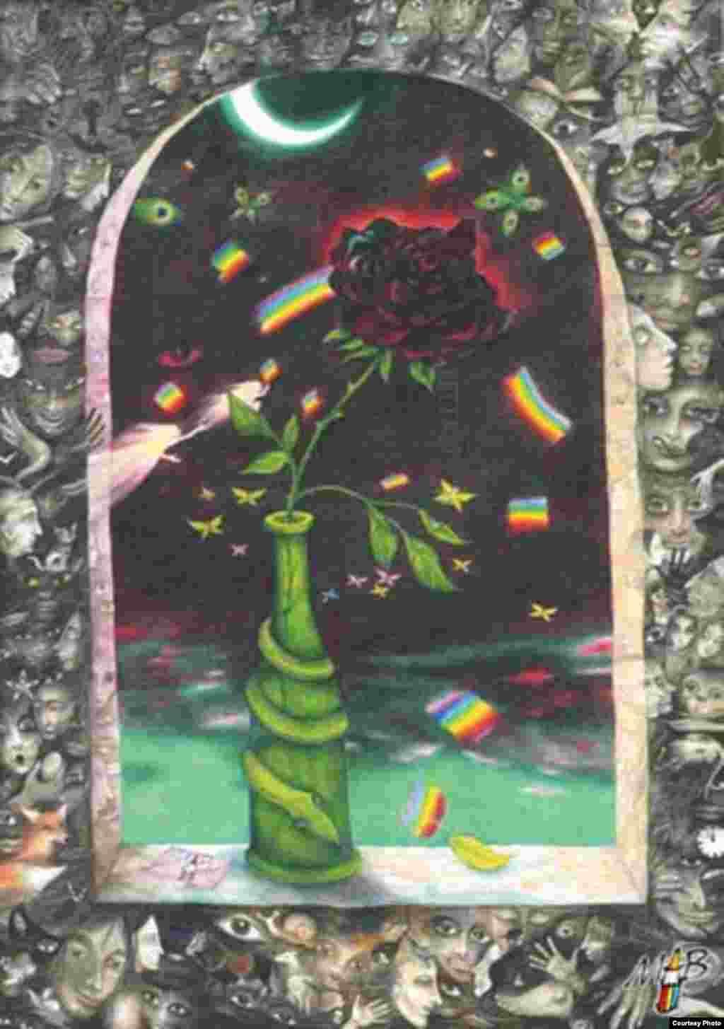 Черная роза в темноте