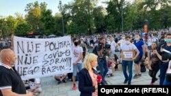 Антиурядовий протест під будівлею парламенту, Белград, Сербія, 9 липня 2020 року