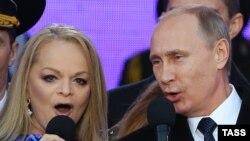 Лариса Долина поет вместе президентом Росссии Владимиром Путиным, март 2015 года