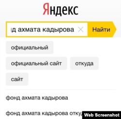 Yandex іздеу жүйесі. Ресейліктер Қадыров қорының ақшаны қайдан алатынын білгісі келеді