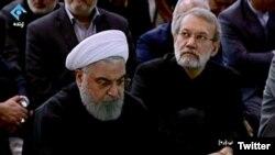 President Hassan Rouhani and Majles Speaker Ali Khamenei at Friday prayers led by Supreme Leader Ali Khamenei. January 17, 2020