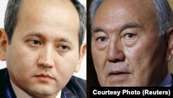 A combo photo of Kazakh entrepreneur Mukhtar Ablyazov (left) and President Nursultan Nazarbaev