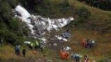 La locul accidentului aviatic lîngă Medellin, în Columbia
