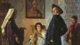 Пётр I в иноземном наряде перед матерью своей царицей Натальей, патриархом Андрианом и учителем Зотовым. Картина Николая Неврева