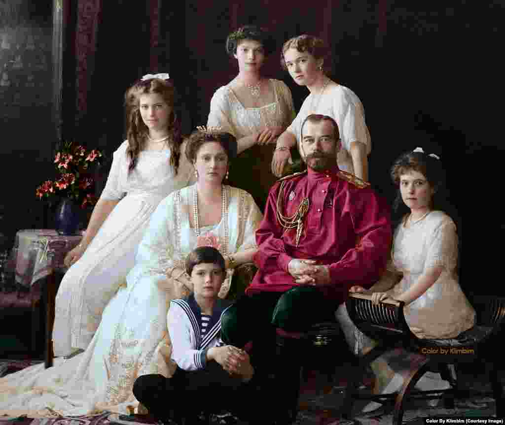 Russia's last tsar, Nicholas II, with his family in 1914. Four years later, with Lenin in power, the family was shot and bayoneted to death by communist revolutionaries.