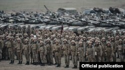 Nagorno-Karabakh - Armenian soldiers and tanks conclude military exercises, 14Nov2014.