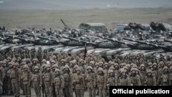 Nagorno-Karabakh - Armenian soldiers and tanks involved in military exercises, 14Nov2014.