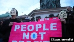 од уличните протести против АКТА