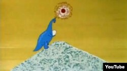 "A still from Soviet-era 1967 animated short film ""Mountain of Dinosaurs"" by director Rasa Strautmane and writer Arkady Snesarev."