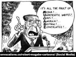 Роберт Мугабе тууралуу сатиралык сүрөт.