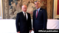 France: President of Kosovo, Hashim Thaci meets his Russian counterpart, Vladimir Putin.