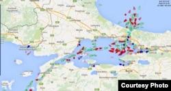 Ситуация в черноморских проливах по состоянию на 17 часов 3 декабря. Скриншот Marine traffic