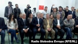Предизборен митинг на ДПА во Струга. Мендух Тачи, Илијаз Халими.