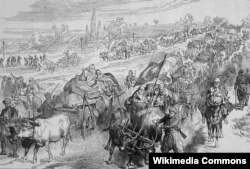 """Türk qaçqınlar. Britaniya mətbuatında illüstrasiya. """"The Illustrated London News"""" qəzeti, 1 sentyabr, 1877"""