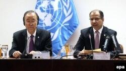 أمين عام الأمم المتحدة بان كي مون مع رئيس مجلس النواب سليم الجبوري
