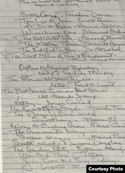 """Список книг, составленный в 1936 году Фицджеральдом для посещавшей его медсестры Дороти Ричардсон. Примерно в середине списка - рассказы Чехова, на предпоследнем месте - """"Война и мир"""""""