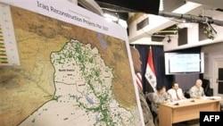 خارطة لمشاريع الإعمار في العراق قدمتها القوات الأميركية في م}تمر صحفي في بغداد، 4 نيسان 2007