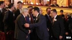 Архивска фотографија- лидерите на СДСМ и на ДУИ, Зоран Заев и Али Ахмети на прослава за Денот на албанската азбука