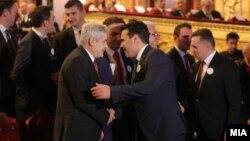Премиерот Зоран Заев и лидерот на ДУИ, Али Ахмети на Свеченото одбележување на Денот на албанската азбука во МНТ.