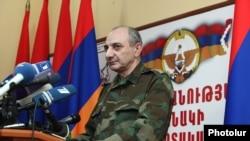 Bako Sahakian, the Nagorno-Karabakh president, at a press conference in Stepanakert, 7Apr2016