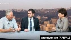 Սուրեն Աբրահամյանը և Սուրեն Պապիկյանը «Ազատության» տաղավարում, 30-ը օգոստոսի, 2018 թ․