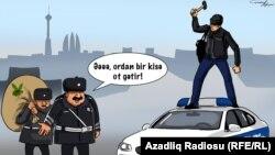 """""""Polis maşınını əzən adam"""". Karikatura. Gündüz Ağayev."""
