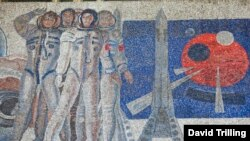 A mosaic above the entrance to the Frunzenskaya Metro station, in Moscow, celebrates science and the Soviet space program.
