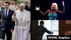 Колаж - Папата Франциск со Зоран Заев, Тамара на Евровизија и избори 2019