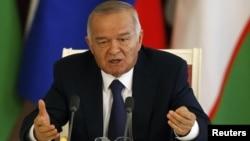 Президент Узбекистана Ислам Каримов выступает в Кремле после встречи с Владимиром Путиным. Москва, 15 апреля 2013 года.
