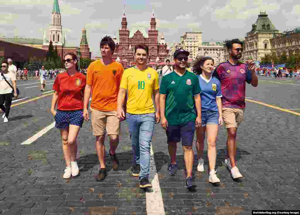 The six, who have launched a website to promote the project, are dressed in their national teams' colors so as not to attract suspicion.
