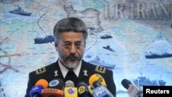 Iranian Navy commander Habibolah Sayyari holds a news conference in Tehran last week.