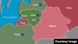 Belarus - Lithuania between Belarus and Kaliningrad, map