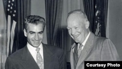 U.S. President Dwight Eisenhower (R) meets with Iran's Mohammad Reza Shah Pahlavi, 1954