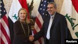 وزيرة الخارجية الأميركية هيلاري كلنتون في لقاء مع نائب رئيس الجمهورية العراقي خضير الخزاعي على هامش أعمال الجمعية العامة للأمم المتحدة في نيويورك.