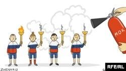 (Cartoon by Yevgenia Oliynik, RFE/RL)