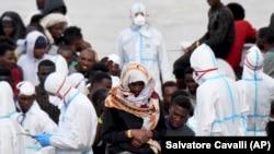 The migrants are on the Diciotti, an Italian coast guard ship docked in Catania. (file photo)
